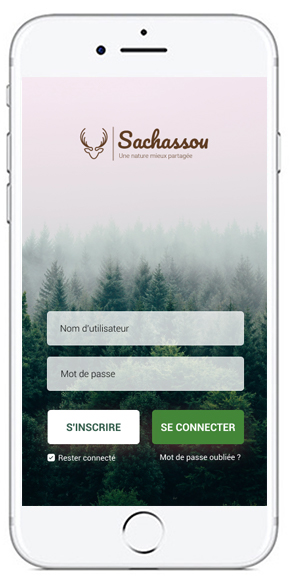 Visuel de la section connexion de l'application Sachassou